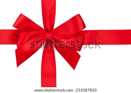 Red ribbon with bow. Isolated on white background - stock photo