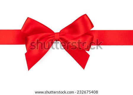 Red ribbon with bow. Isolated on white background