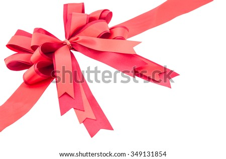 Red ribbon with bow isolated on white background, Save clipping path. - stock photo