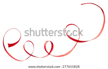 Red ribbon with curls isolated on white background - stock photo