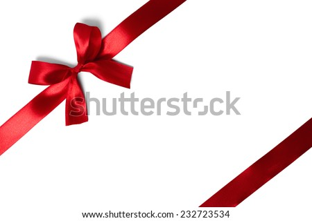 red ribbon with tails isolated on white background - stock photo