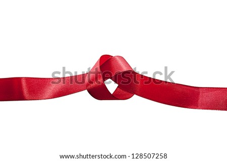 Red ribbon with untied knot isolated on white background - stock photo