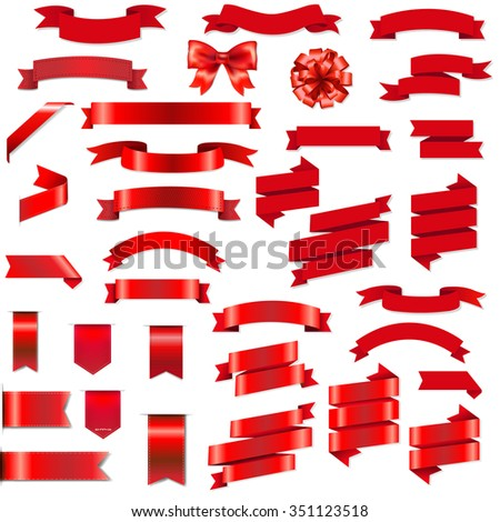 Red Ribbons And Bow Set  - stock photo