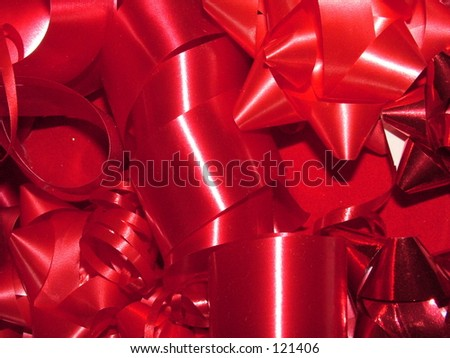 Red ribbons and bows - stock photo