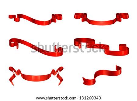 Red ribbons set, bitmap copy - stock photo