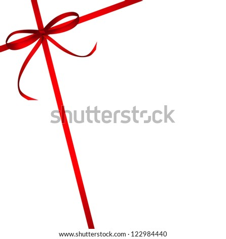 Red ribbons with bow background isolated on white. Illustration