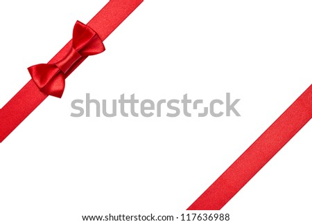 Red ribbons with bow isolated on white background