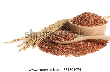 red rice on white background