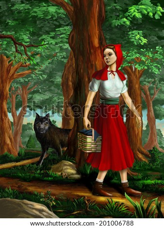 Red riding hood going through the wood. Digital painting. - stock photo