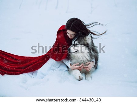 Red Riding Hood lost in the mystical snow-covered forest and met a wolf,fantastic shooting,fashionable toning, creative computer colors - stock photo