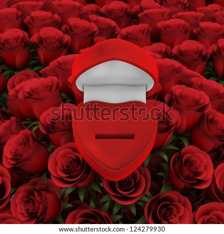 Red ring box with bouquet of roses - stock photo