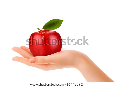 Red ripe apple in a hand. Concept of diet. Raster version - stock photo
