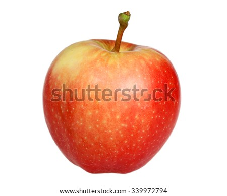 Red ripe apple is isolated on a white background - stock photo