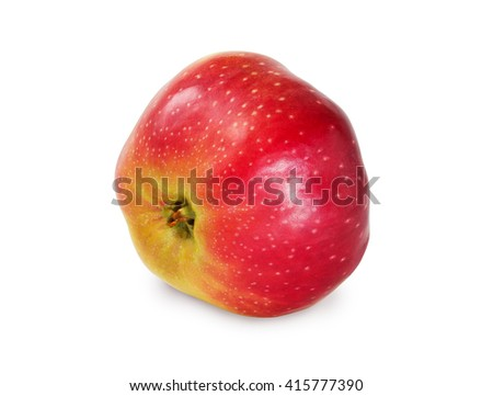Red ripe apple isolated on white with clipping patch close-up.