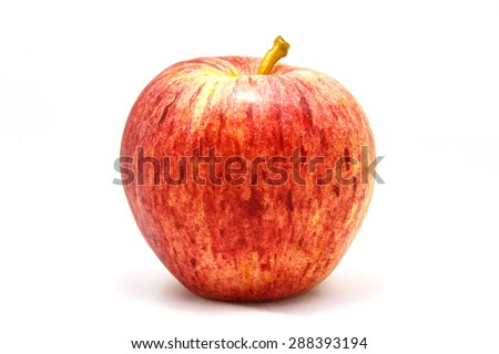 Red ripe apple isolated white background. - stock photo