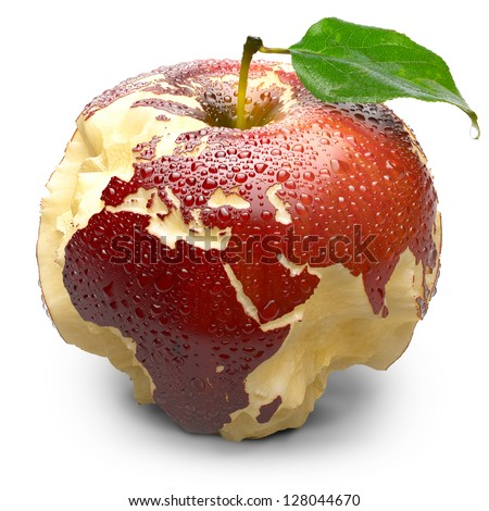 Red ripe apple. Its juicy pulp deeply carved oceans. Apple peel in the form of exact shape of continents of Europe and Africa is covered with water droplets. Isolated on a white background - stock photo