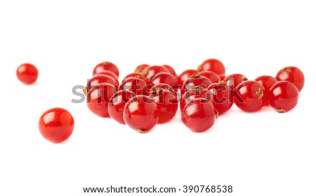 Red ripe  Currant berries isolated over white background - stock photo