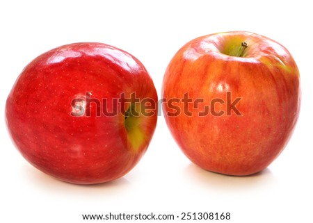 Red, ripe delicious Jazz apples on white background - stock photo