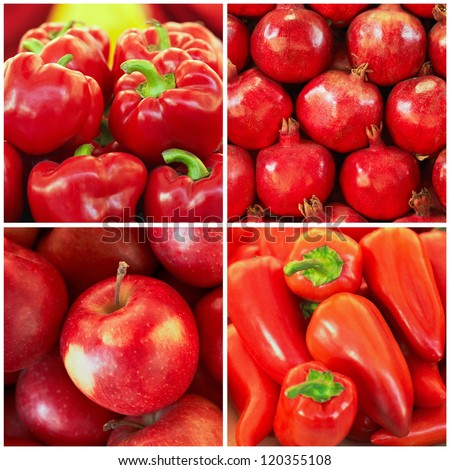 Red ripe fruit and vegetables in the collage - stock photo