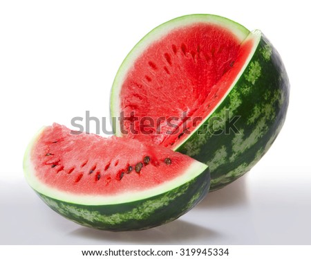 Red ripe juicy watermelon with a slice of a cut on a white background with original shadow - stock photo