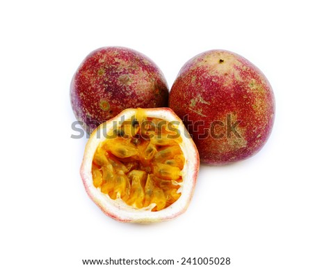 Red ripe passion fruit on white background - stock photo