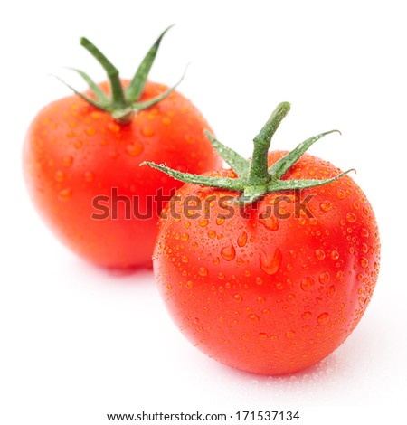 red ripe tomato isolated on white