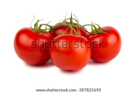 Red ripe tomatoes with green branch isolated on white background - stock photo