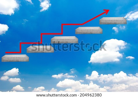 red rising arrow walking up stepping ladder on blue sky idea concept for success and growth  - stock photo