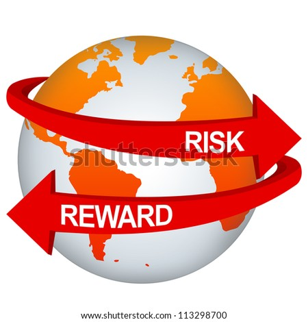 Red Risk And Reward Arrow Around The Orange Earth For Business Direction Concept Isolate on White Background - stock photo