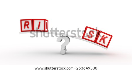 Red risk cubes  balancing on question mark - stock photo