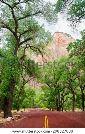 Red Road at Zion National Park - stock photo