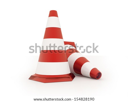 Red road cones rendered isolated on white background