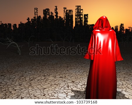 Red Robed Traveler before a destroyed city in desert - stock photo
