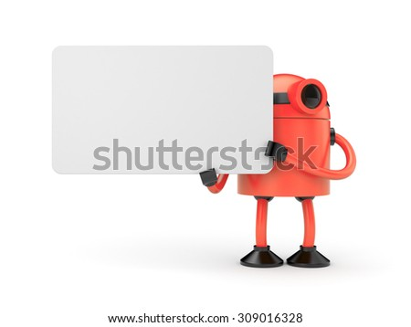 Red robot businessman holding a empty sign - stock photo