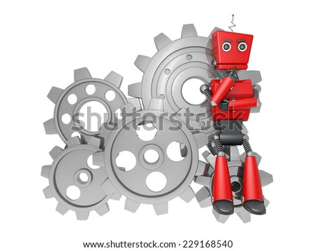 red robotic toy - stock photo