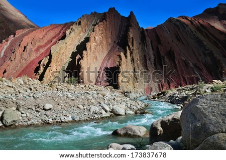 Red rock canyon on the high altitude Manali-Leh road near Leh in Ladakh, Himachal Pradesh, Indi - stock photo