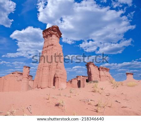 Red rock canyon. Talampaya National Park. La Rioja. - stock photo