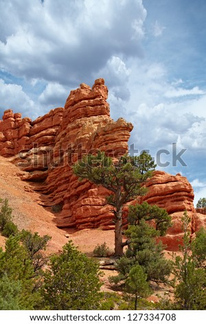 Red Rock Cliff Hoodoos Pillar Spires Rise Above The Pine Trees In The Rugged Back Country Of Red Canyon In The Dixie National Forest ~ Utah, USA, United States ~ Scenic Byway