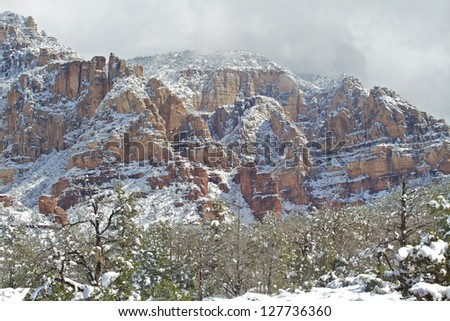 Red Rock Country Winter Landscape - stock photo