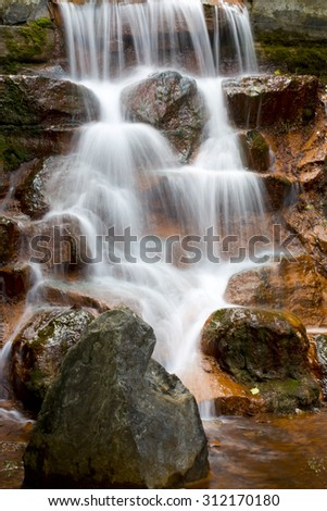 Red rock falls. - stock photo