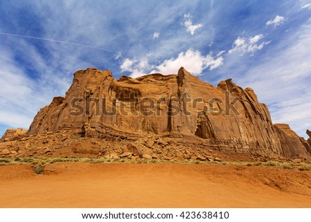 red rock formation in monument valley, arizona - stock photo