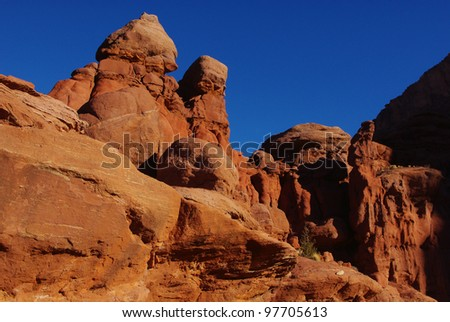 Red rock formations and intense blue sky near Fisher Towers, Utah