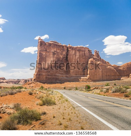 Red Rock formations, in Arches National Park, Moab, Utah - stock photo