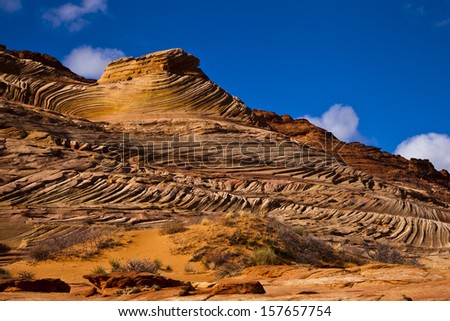 """Red rock formations in the Coyote Buttes near """"The Wave"""" - stock photo"""