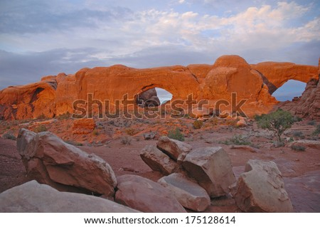 Red Rock Landscape in Arches National Park, Utah USA - stock photo