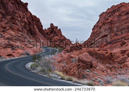 red rock landscape in the Valley of Fire state park in Southern Nevada - stock photo