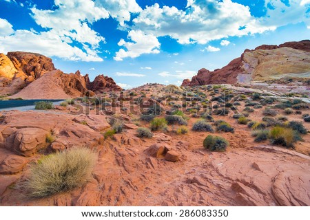 Red Rock Landscape in Valley of Fire State Park, Nevada, USA - stock photo