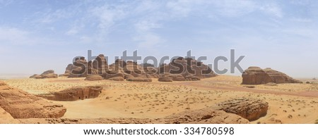 red rock mountains in desert landscape panorama - stock photo