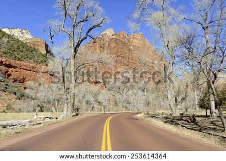 Red rock road through Zion National Park, Utah - stock photo