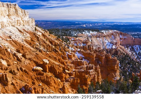 Red rocks and erosion in Bryce Canyon National Park - stock photo